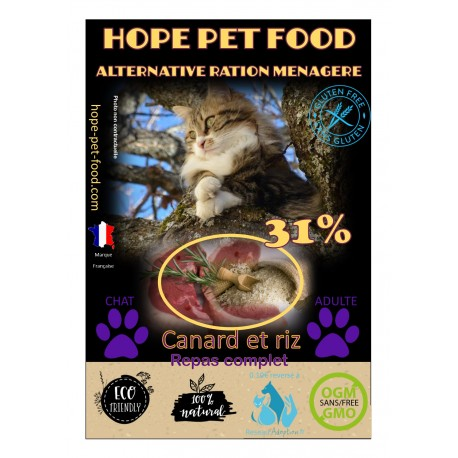 Canard et Riz Natural  sans gluten - Hope Pet Food - croquettes chat adulte toute race