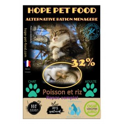 32% Poisson et Riz Platinum alternative ration menagere - Hope Pet Food - croquettes chat adulte toute race