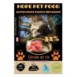 32% Dinde et Riz Platinum alternative ration menagere - Hope Pet Food - croquettes chat adulte toute race