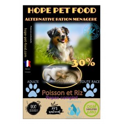 30% Poisson et riz Platinum alternative ration menagere - Hope Pet Food - croquettes chien adulte toutes races