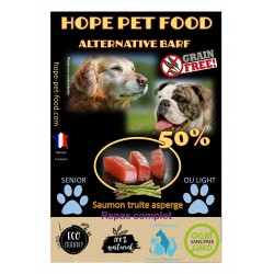 50% Truite Saumon Asperge sans céréales Alternative Barf - Hope Pet Food - croquettes chien en surpoids toute race