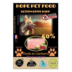 50% Dinde Cranberry sans céréales Alternative Barf - Hope Pet Food - croquettes chien adulte toute race