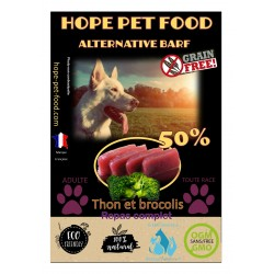 50% Thon saumon  brocoli sans céréales Alternative Barf - Hope Pet Food - croquettes  chien adulte toute race