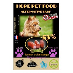 53% Saumon truite asperge sans céréales Alternative Barf - Hope Pet Food - croquettes chien adulte petite race