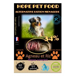 34% Agneau et riz Platinum alternative ration menagere - Hope Pet Food - croquettes chien adulte toutes races