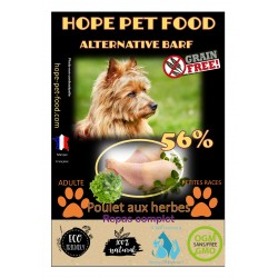 56% Poulet Herbes sans céréales Alternative Barf - Hope Pet Food - croquettes chien adulte petite race