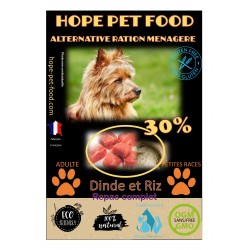 30% Dinde et riz Platinum alternative ration menagere - Hope Pet Food - croquettes chien adulte petite race