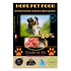 30% Dinde et riz Platinum alternative ration menagere - Hope Pet Food - croquettes chien adulte toutes races