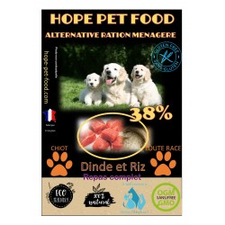 38% Dinde et riz Platinum alternative ration menagere- Hope Pet Food - croquettes chiots