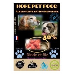 30% Dinde et riz Platinum alternative ration menagere - Hope Pet Food - croquettes chien sénior et light en surpoids