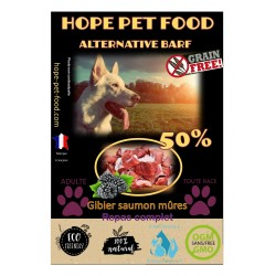 50% Gibier Saumon mûres sans céréales Alternative Barf - Hope Pet Food - croquettes chien adulte toute race