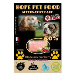 50% Dinde cramberry sans céréales Alternative Barf - Hope Pet Food - croquettes chien sénior /light toute race