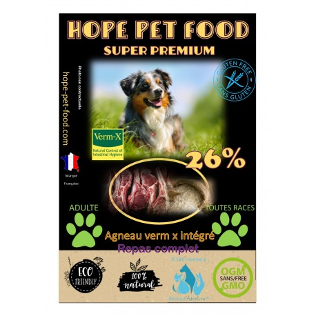Agneau riz et verm x-  hypoallergénique super premium - Hope Pet Food - croquettes chien adulte