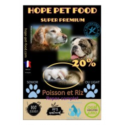20% Poissons et riz super premium - Hope Pet Food - croquettes chien sénior ou en surpoids