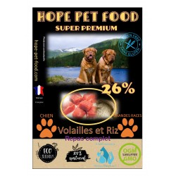 Volailles et riz hypoallergénique super premium - Hope Pet Food - croquettes adulte grandes races