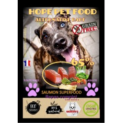 65% Saumon Super food  sans céréales  Alternative Barf - Hope Pet Food - croquettes  chien adulte toute race