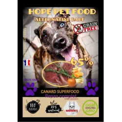 65% Canard Super food  sans céréales  Alternative Barf - Hope Pet Food - croquettes  chien adulte toute race