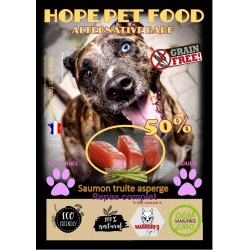 50% Saumon Truite Asperge  sans céréales  Alternative Barf - Hope Pet Food - croquettes  chien adulte toute race