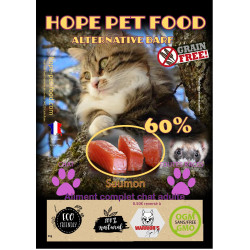 60% Saumon sans céréales alternative barf - Hope Pet Food - croquettes chat adulte et sénior stérilisé ou non