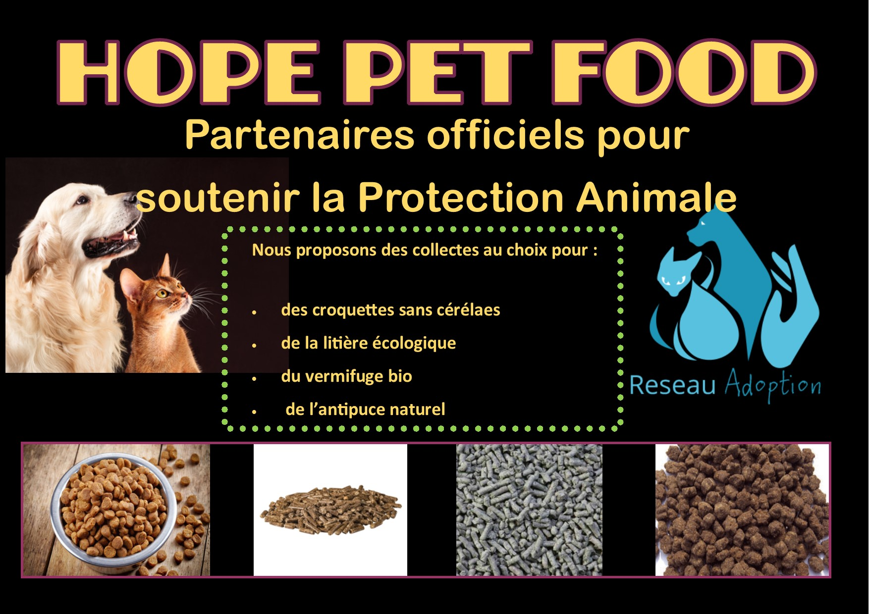 soutien asso hope pet food reseau adoption dons
