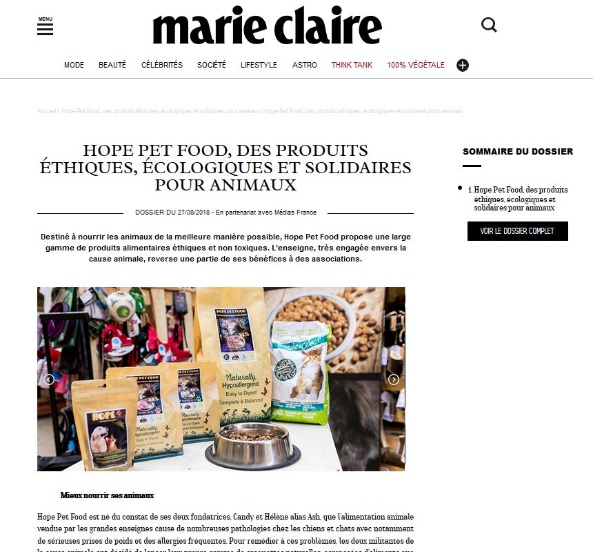 Article presse marie-claire.fr Hope pet food