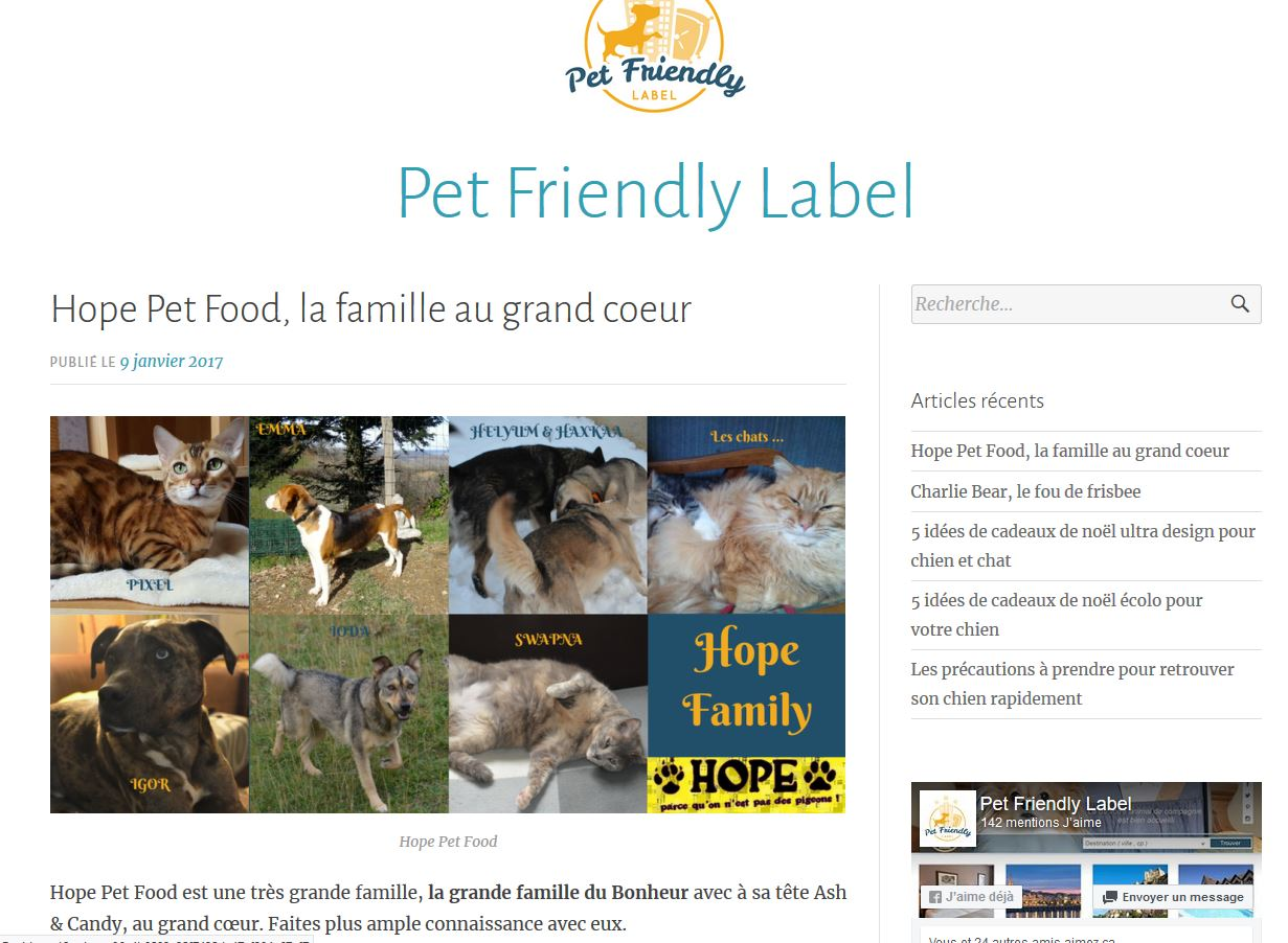 Article pet friendly label HOPE PET FOOD